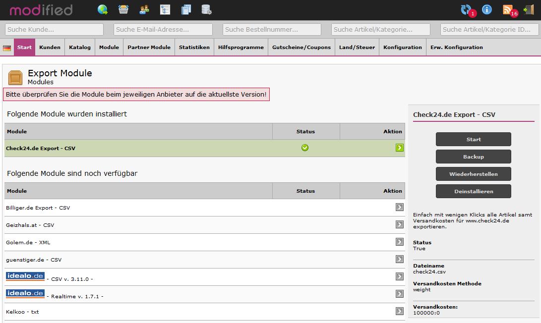 Artikelexport per csv zu Check24.de
