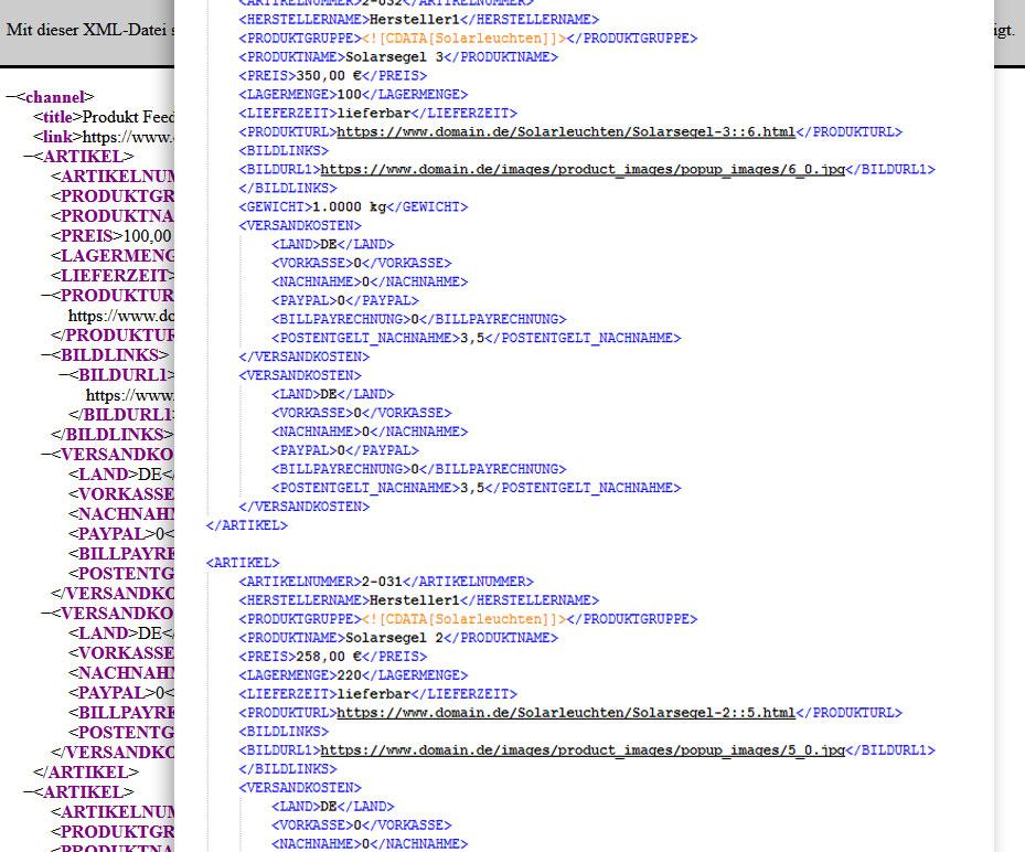 Artikelexport per XML-Datenfeed zu Idealo