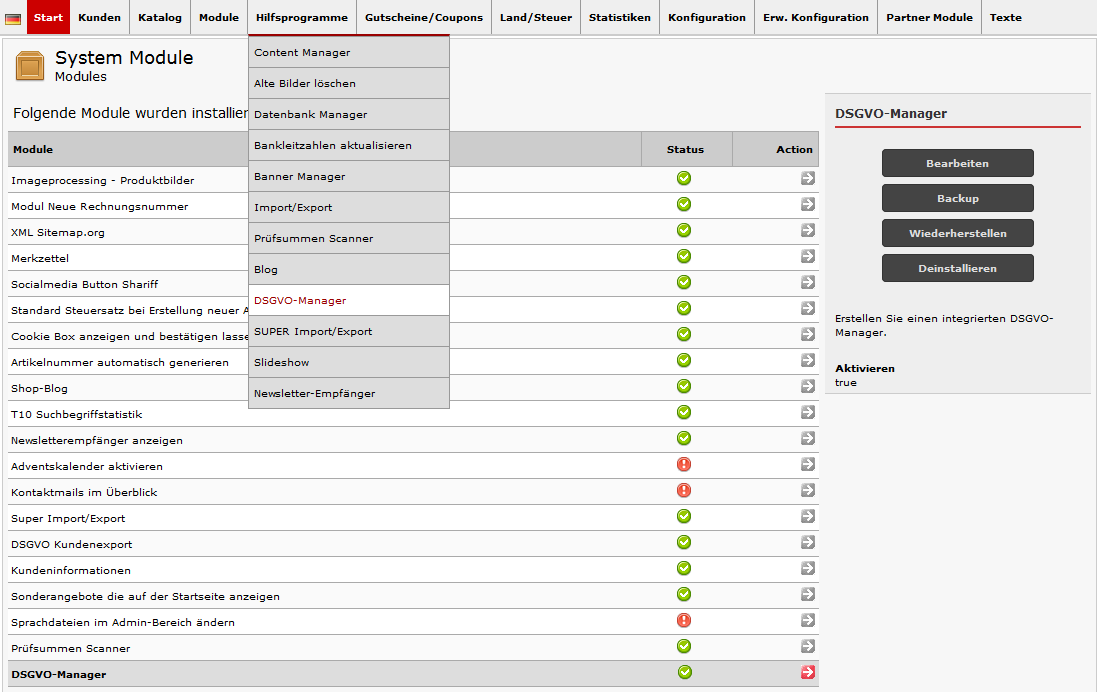 DSGVO-Manager, Datenschutzinformationen übersichtlich bearbeiten und anzeigen
