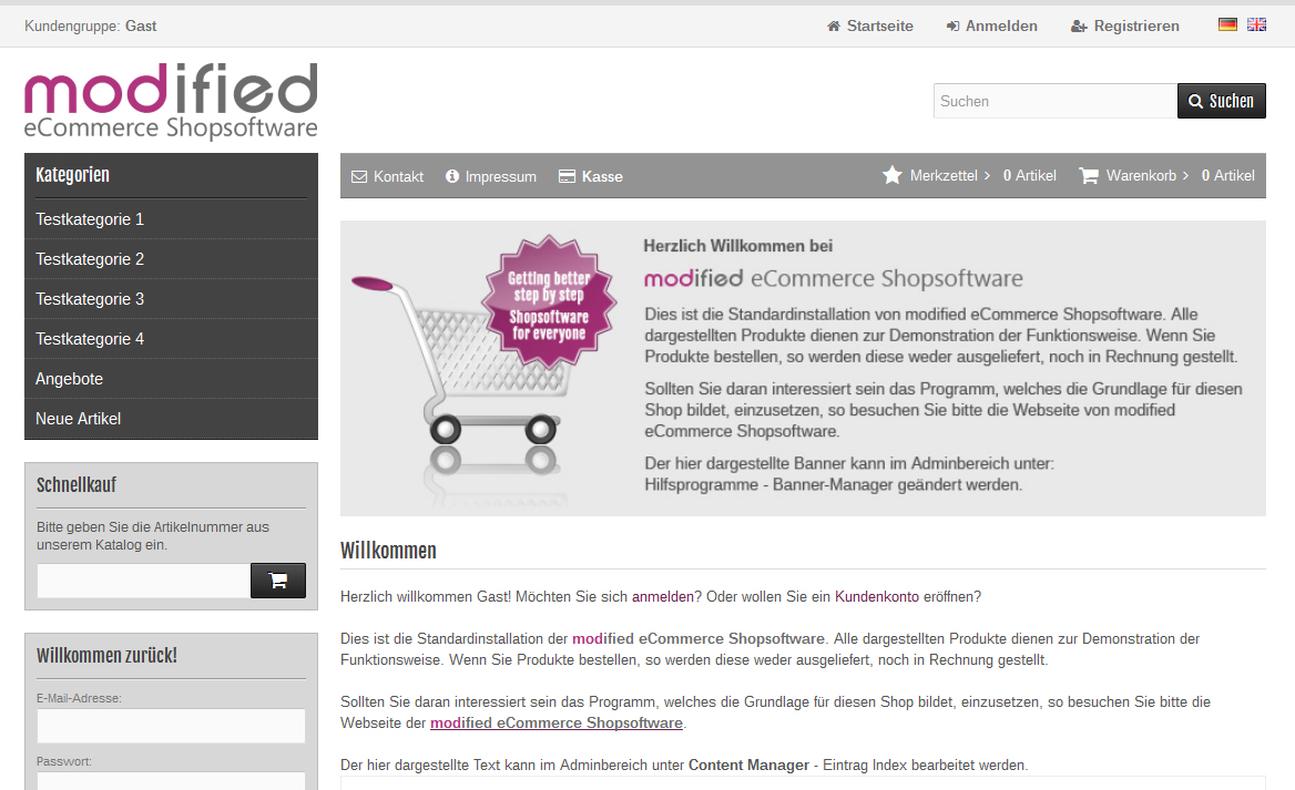 Installation eines modified eCommerce Shopsystems