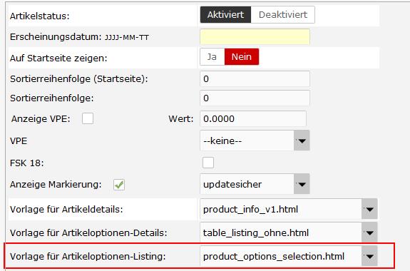 Attribute und Mengeneingabe in der Produktliste