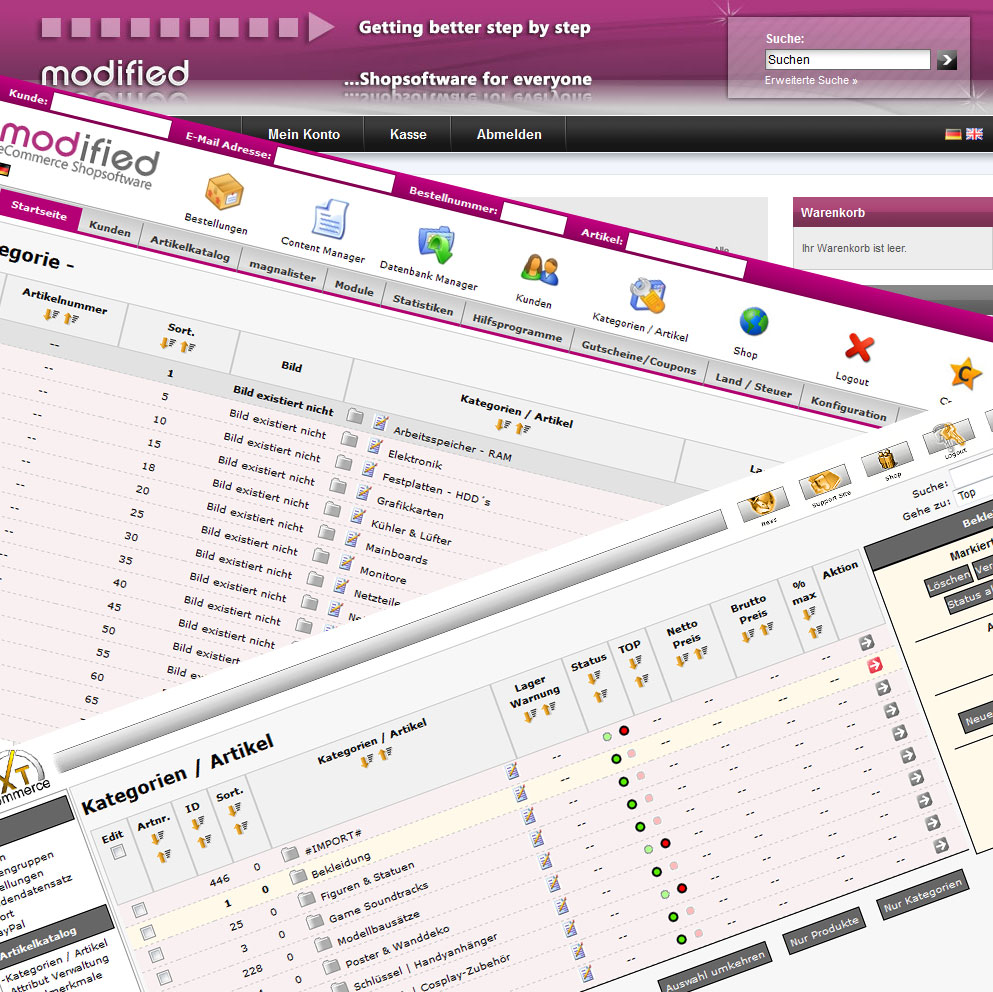 Shopupdate auf modified eCommerce Shopsoftware die neueste Version