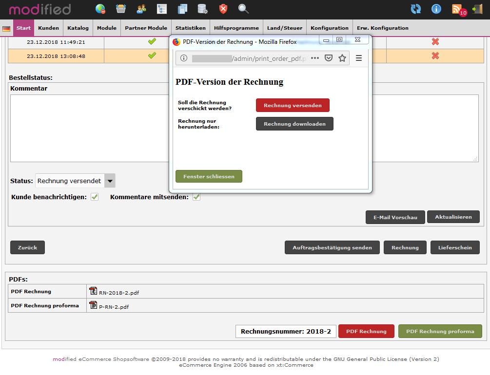 PDF-Rechnung oder PDF-Proforma-Rechnung aus dem Shop erstellen und versenden