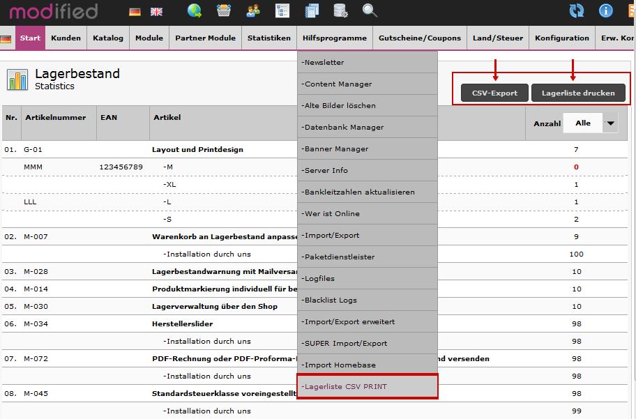 Lagerliste als CSV-Datei exportieren oder ausdrucken