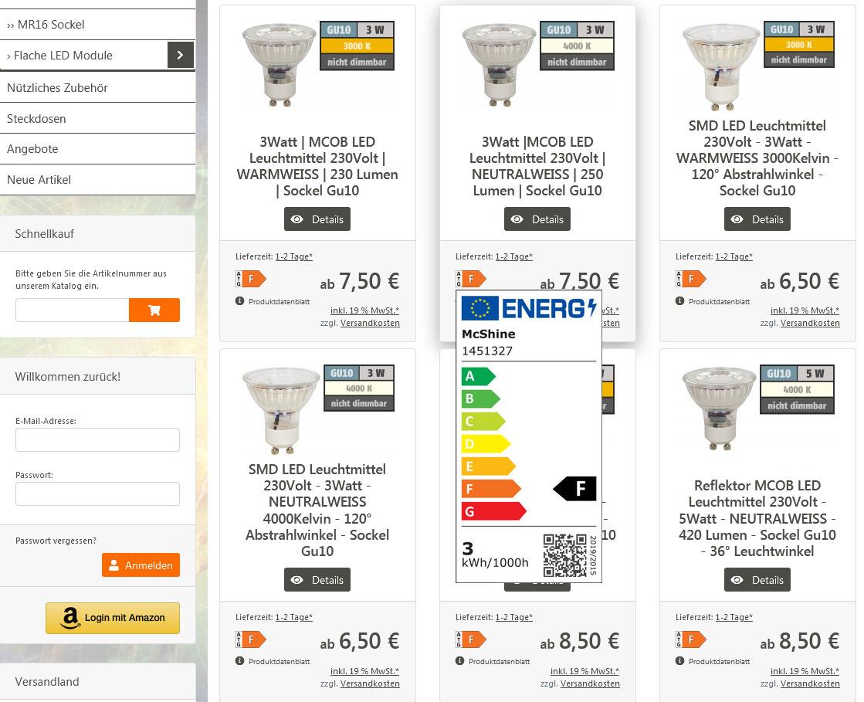 Energieeffizensklasse für Produkte festlegen