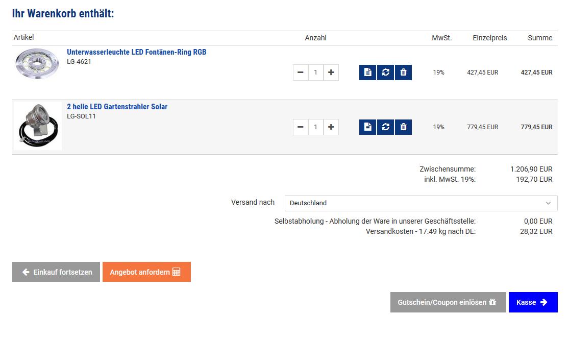 Einkaufen per Mailformular im Warenkorb