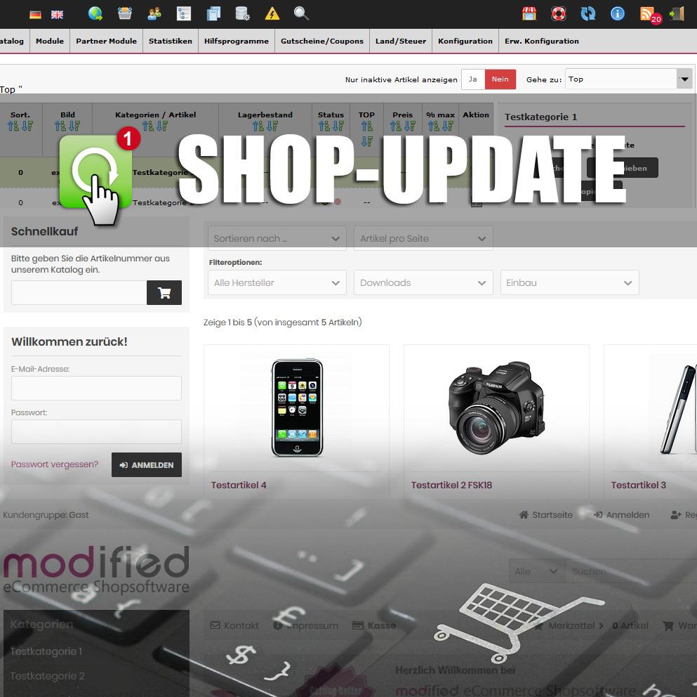 Modified-Shop-Update auf die neueste Version, PHP 7.4 fähig