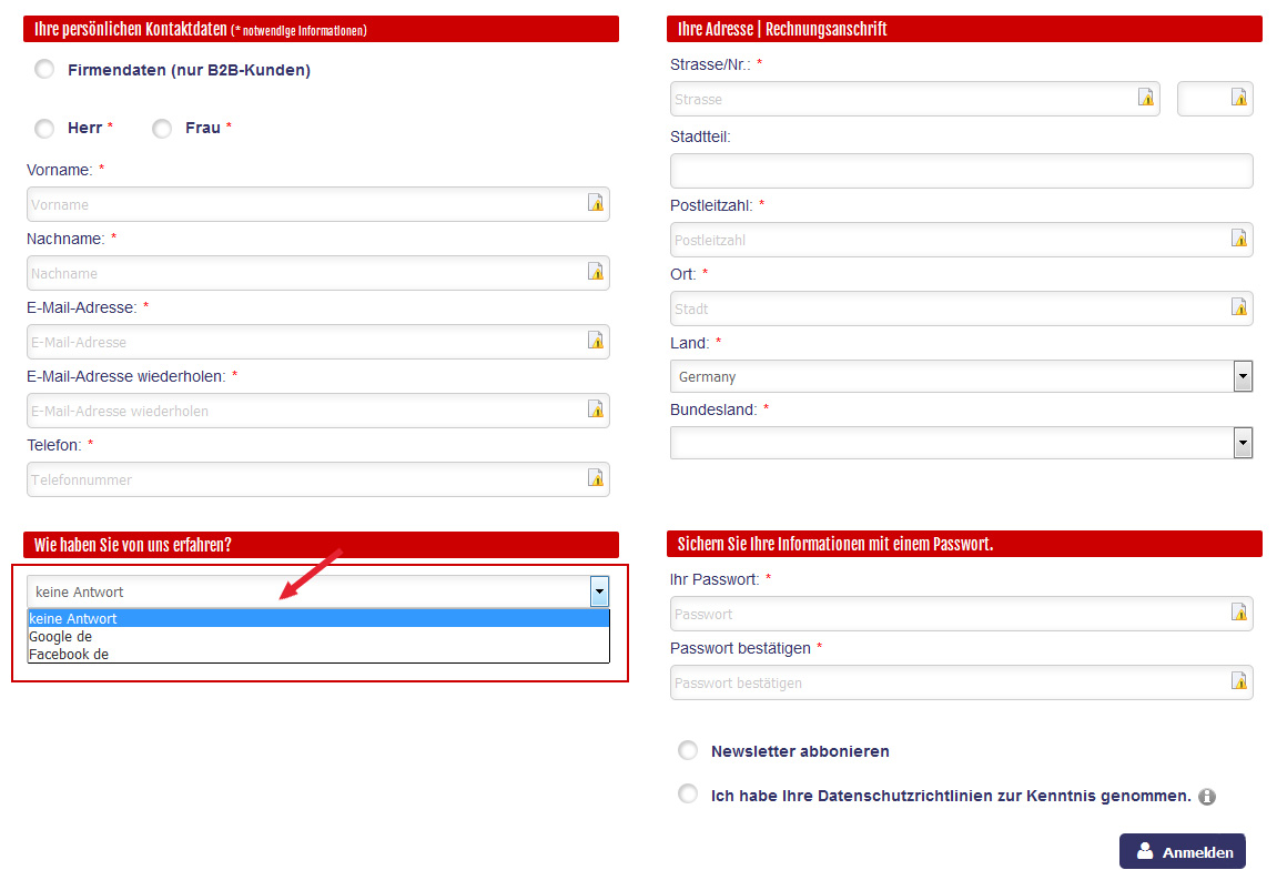 Kundenfrage bei Anmeldung mehrsprachig